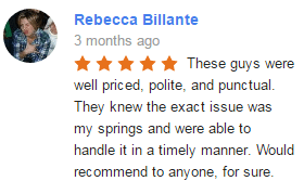 Google-My-Business-Review-Rebbeca-Billante Elite Tech Garage Door Repair
