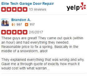 Yelp Reviews - Elite Tech Garage Door Repair