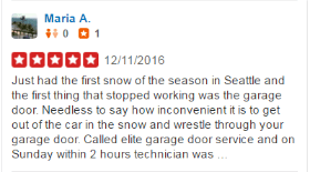 Yelp Reviews - Maria - Elite Tech Garage Door Repair