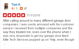 Yelp Reviews - Tiah - Elite Tech Garage Door Repair